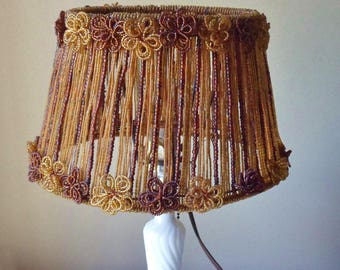Brown Beaded Lamp Shade, Bohemian Oval Lamp Shade Made of Seed Beads and Copper Wire