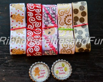 Grosgrain ribbon and bow center bundle, Christmas cookie, bottle caps grosgrain ribbon, bow, sewing supplies, grosgrain, polka dot ribbon