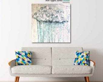 Rain Cloud painting, original abstract rain cloud painting, contemporary interior decor, rain cloud, modern wall art, handmade abstract art