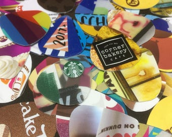 10 New assorted Guitar Picks Made from Recycled Plastic Gift Card ( Mix style and color )