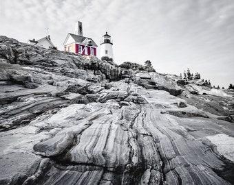 Maine Lighthouse Rocky Coast, Fine Art, Colorsplash, Metal Print