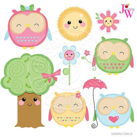 Kawaii Owls Cute Digital Clipart Cute Owl Clipart Owl Clip