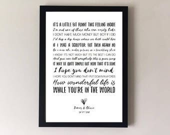 Your song, song lyrics print, wedding song, first dance anniversary gifts wedding gift gift for husband for wife