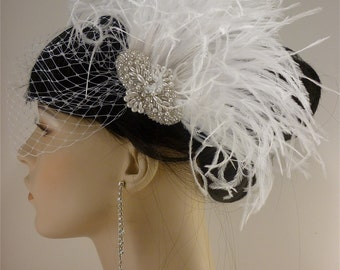 Ostrich Hair Clip, Pearl, Silver Beaded Bridal White Ostrich Feather Fascinator, Bridal Fascinator, Speakeasy
