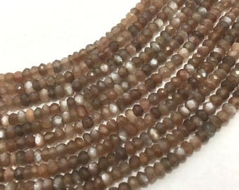 Natural Choclate Moonstone Micro Faceted Rondelle, 3mm to 3.5mm, 13 inches, Rondelle Beads, Brown Beads, Gemstone Beads, Moonstone Beads