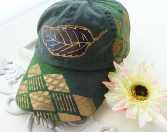 Hand painted baseball cap, artsy hat, cotton, visor, OOAK, hiking, beach, wearable art hat, sport hat, upcycled, womens, streetwear, green