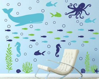 Ocean wall decal, Children's wall decal, Sea animal wall decals, Ocean bathroom decor, Sea creatures wall decal, Ocean theme nursery DB441