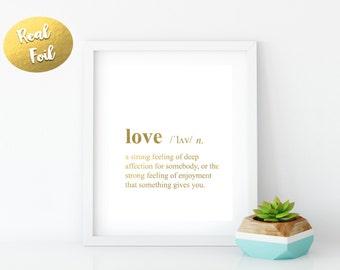 LOVE, Love noun, love meaning, print gold foil, Real gold foil, Custom, Wall Art, Office Decor, Room Decor, Dorm Decor, Rose Gold foil, gift