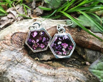 Hexagon Flower Earrings Sterling Silver Queen Annes Lace Hand Dyed Pinks Purples