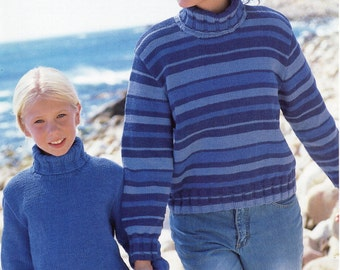 """Womens Polo neck Sweater Knitting Pattern PDF download Girls jumper striped polo 24-42"""" DK Light Worsted 8 Ply PDF instant Download"""