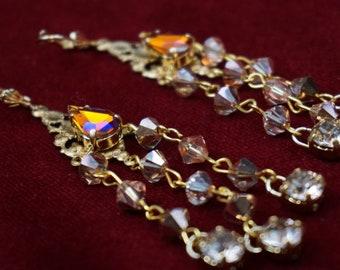Vintage earrings with Swarovski crystals and Preciosa
