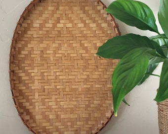 Vintage Oval Woven Rattan Wall Hanging Wicker Basket, Diamond Pattern