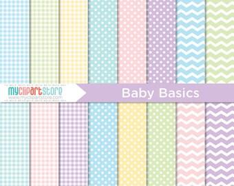 Papier numérique - Baby Basics, Pastel motifs, papier de scrapbooking, tutoriel, utilisation commerciale, JPEG, PDF