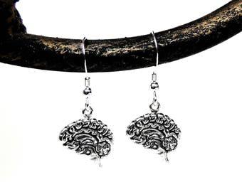Brain Earrings - Brains - Anatomical Brain Earrings in Silver - Anatomy Jewelry