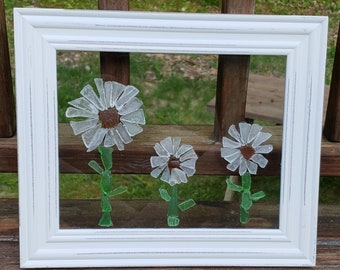 Sea Glass Daises in 8x10 Wooden Frame