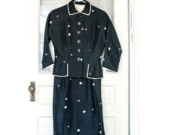50's Navy Blue Polka Dot Dress and Jacket Two Piece w/ Velvet Detail Small