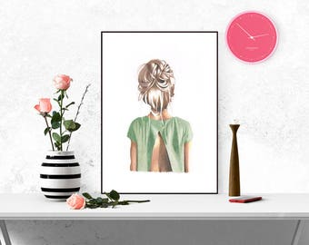 A3 Large illustration print art hair style green blonde girl home decor drawing teenage child gift