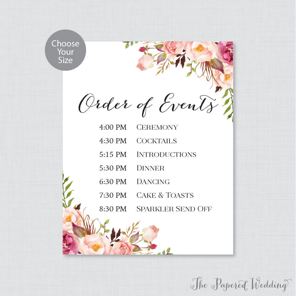 Order Of Wedding Reception: Printable Order Of Events Sign Pink Wedding Order Of Events