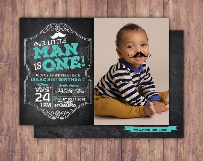 Mustache Invitation - Little Man Birthday Invitation - First Birthday Invitation - Mustache Printable - Bowtie Invitation - Boy Birthday,