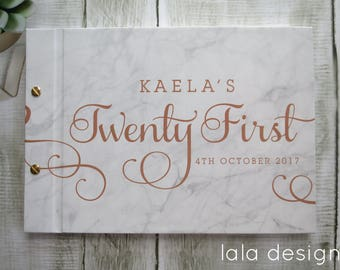 21st Flourish Copper Print on Marble  | Custom Made Guestbook | Personalised Guestbook | Birthdays | Parties | Australia Seller