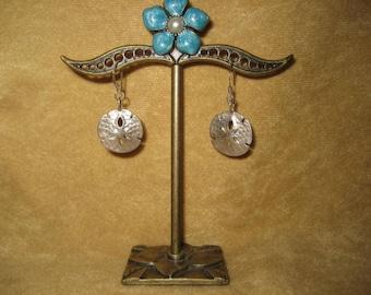 Sterling Silver Sand Dollar Earrings Pierced Vintage