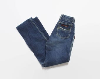 Vintage 80s JORDACHE Jeans / Early 1980s Dark Wash Blue Denim High Waisted Jeans XXS
