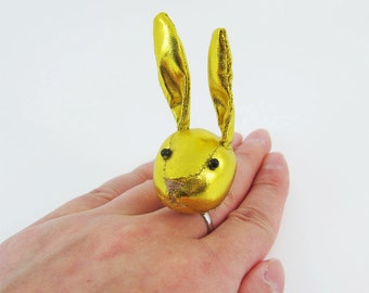 MADE-TO-ORDER ( 1 - 2 Weeks)- Bunny Adjustable Ring-Yellowish Gold