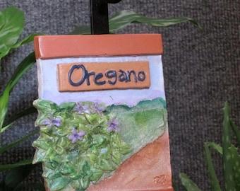 Oregano herb garden marker