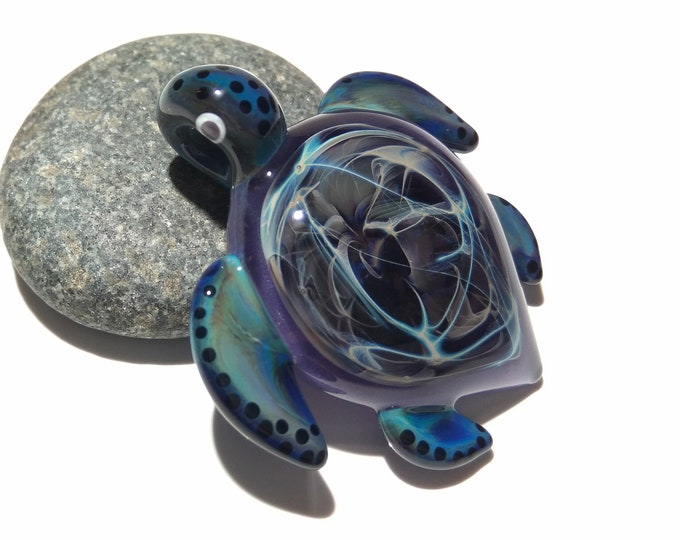 Whispering Water Turtle Pendant - Glass Pendant - Glass Jewelry - Glass Art - Turtle - Blown Glass - Artist Signed - Details of Pure Silver
