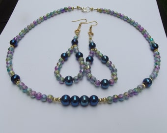 Purple and royal blue necklace set