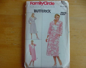 1980s Butterick Pattern 3756, Misses Dress, Top and Skirt, Multi Size 8-12, Vintage, UNCUT, Family Circle Collection