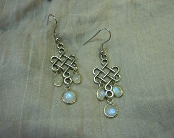Magical medieval ethnic earrings with 3 moonstones moonstone and Celtic knot