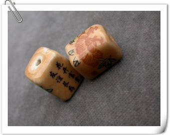 set of 10 ceramic cube ideogram flower beads