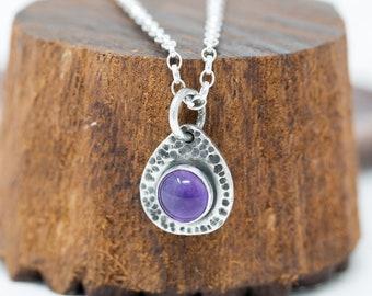 Sterling Silver&Amethyst Necklace Natural Gem Necklace Amethyst Necklace Birthstone Necklace February Birthstone Necklace Gift for Her