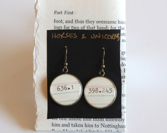Dewey Decimal System EARRINGS, Horses and Unicorns, 636.1  & 398.245 ,  call number, library, gift