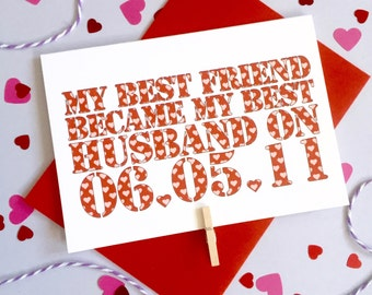 Best Friend to Best Husband – Personalised Date Wedding Card – Card for Husband – wedding card for husband wife  – wedding card newlyweds