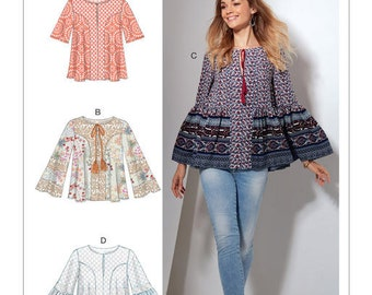 McCall's Pattern M7545 Misses' Split-Neck Tops with Flared Sleeves