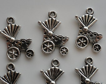 CLEARANCE 40 Baby Carriage Charms Tibetan Silver Thank You Cards Shower Invitations Announcements