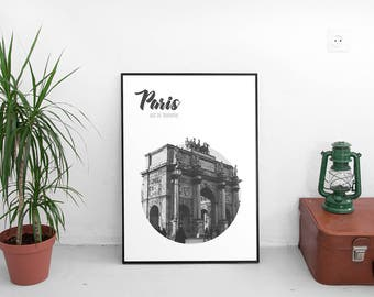 Arc De Triomphe Paris Poster (Circle Travel Poster,Modern Wall Art Prints,Printable Art,Printables,Digital Prints,Poster,Digital Download)