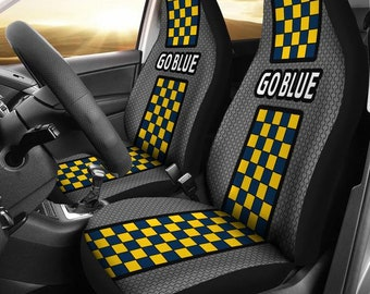 Michigan/Go Blue/Wolverines/University of Michigan/The Big House/Split Checkered/College/Football/Micro Fiber/Auto/ Seat Covers/Maize/Blue
