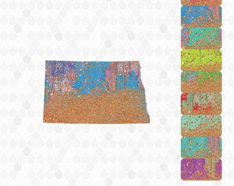 North Dakota, North Dakota Clipart, North Dakota Map, North Dakota Outline, Decal for Shops, United States Shapes, State Art