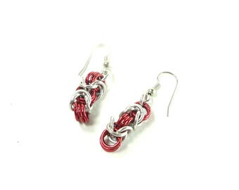Chainmaille Earrings Byzantine or Birdcage Red And Silver Anodized Aluminum
