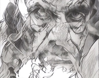 Fine Art Print Graphite Sketch Drawing--The Tell-Tale Heart in the Smoke & Mirror Series (5 of 8)
