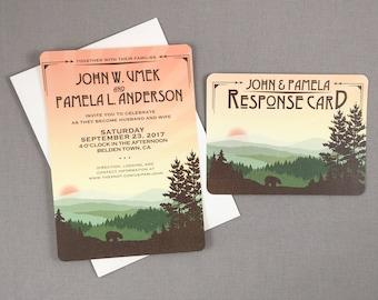 Appalachian Rolling Hills at Sunset 5x7 Wedding Invitation with RSVP Postcard