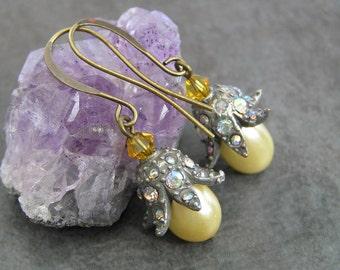 Boucles d'oreilles perle, rétro et Glamour, Style Vintage boucles d'oreilles