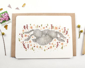 30% OFF - 10 Notecards - Spring Nap, Rabbit
