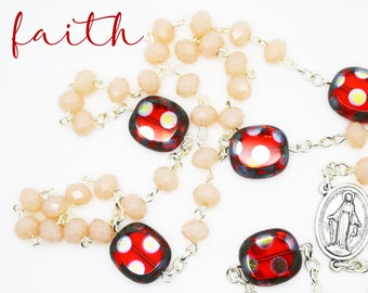 Sale--Contemporary Handmade Rosary--Polka Dots--Inspirational--Catholic--Baptism Gift--Beads--Prayer--Art Glass--Blush/Red--Gift For Her