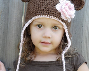 Monkey Earflap Hat Crochet Pattern *Instant Download* (Permission to sell all finished products)