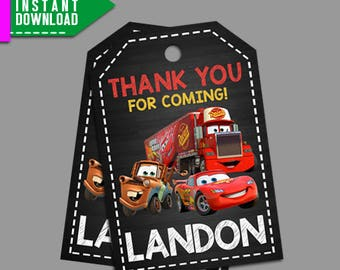 Disney Cars Thank You Tag, Disney Cars Favor Tag, Disney Cars Printable, Editable PDF Template, Instant Download, Editable Instant Download