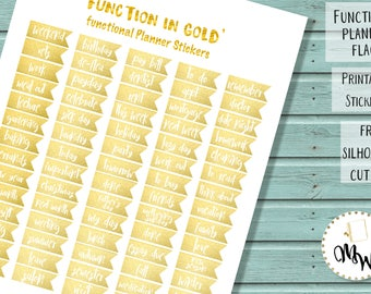 Functional Gold Stickers | PRINTABLE ECLP Planner Flags | Gold Planner Flags | TN Gold Stickers | Functional Planner Flags | Condren Flags